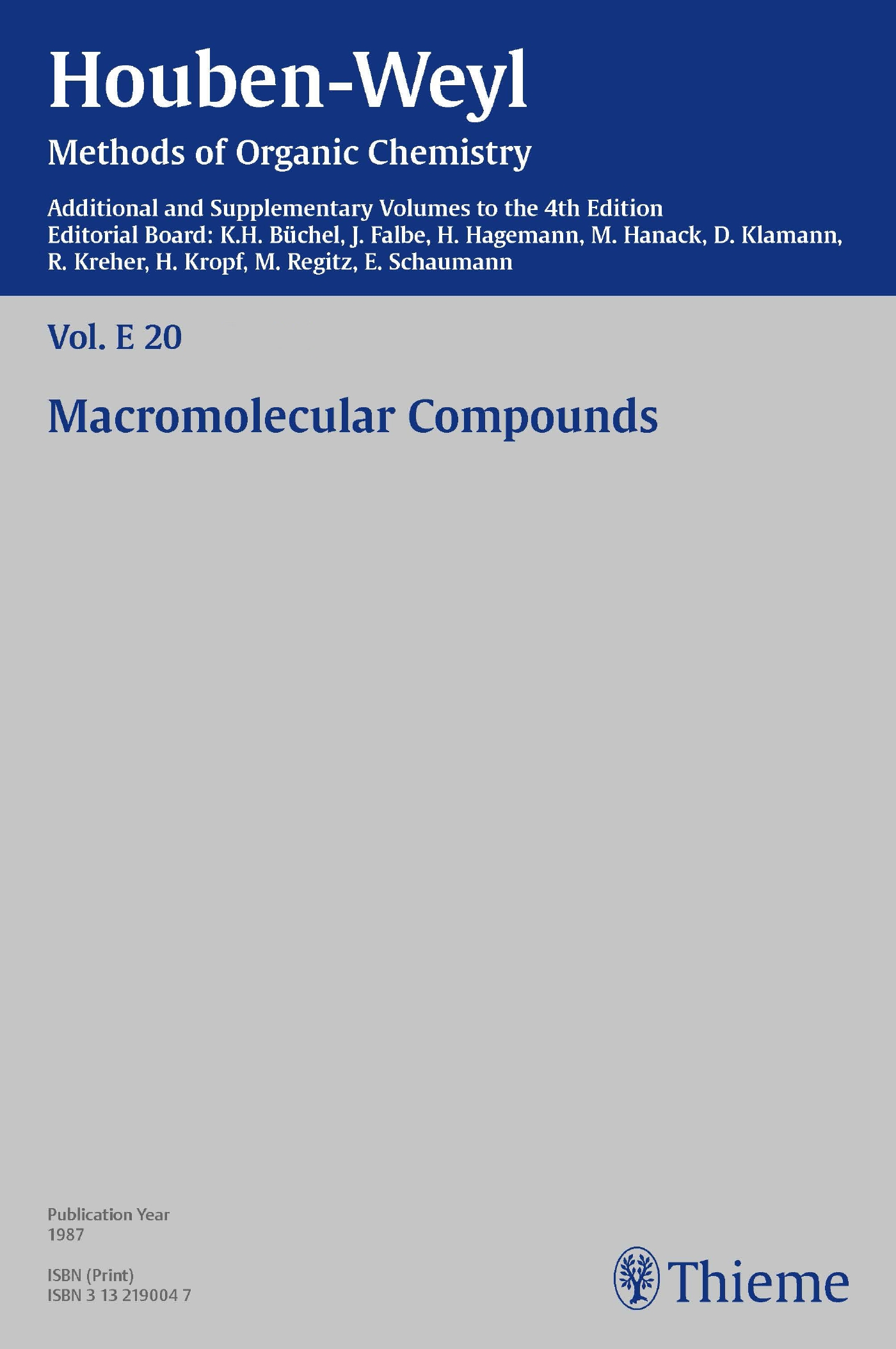 Houben-Weyl Methods of Organic Chemistry Vol. E 20, 4th Edition Supplement